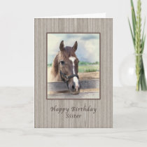 Sister, Birthday, Brown Horse with Bridle Card
