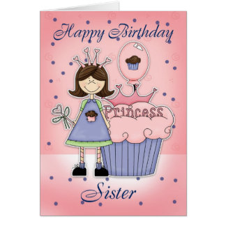 Sister Birthday Card - Cupcake Princess