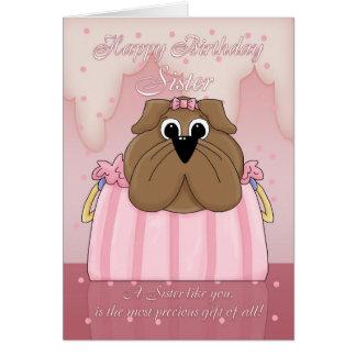 Sister Birthday Card - Cute Bulldog In A Purse - P
