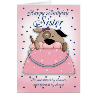 Sister Birthday Card - Cute Purse Pet