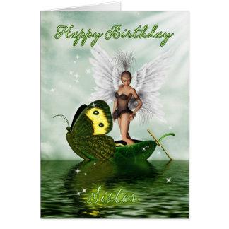 Sister Birthday Card - Fantasy Swan Fairy On A But