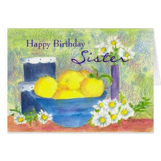 Sister Birthday Card Lemon Daisy Watercolor
