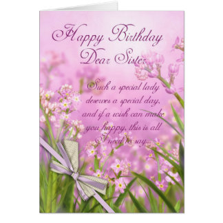 Sister Birthday Card - Pink Feminine Floral With V