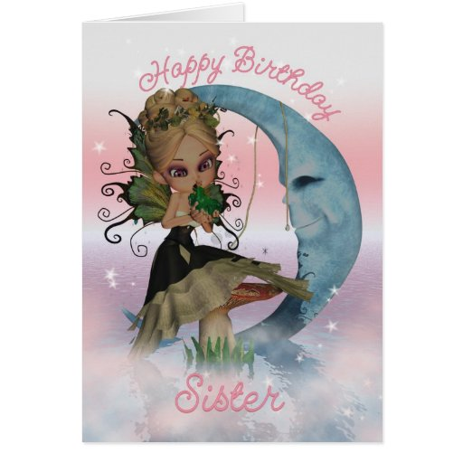 Sister Birthday Card With Cute Fairy And Frog Prin