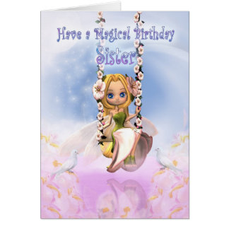 Sister Birthday card with Cutie Pie fairy on swing