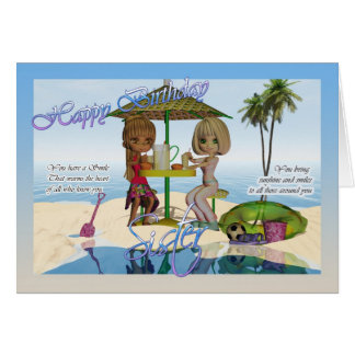 Sister Birthday, Cutie Pie collection Beach Life Card