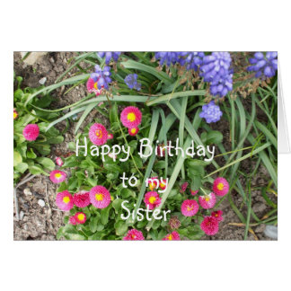 Sister Birthday Flower Bed Card