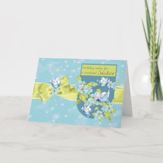 Sister, Birthday Greeting Card With Pretty Birds