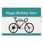 Sister Birthday Motivational Bike Bicycle Cycling Card