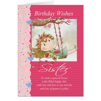 sister birthday wishes greeting card with fairy