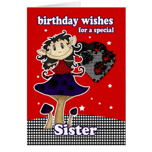 sister birthday wishes greeting card with gothic e