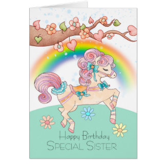 Sister Birthday With A Sweet Prancing Pony, Card
