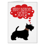 Sister Birthday With Silhouette Scottish Terrier Greeting Card
