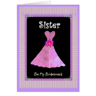 SISTER - Bridesmaid Pink Gown Plaid Trim Greeting Card