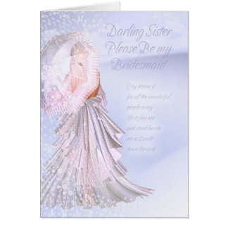 Sister Bridesmaid Request Card With Violet Blue an