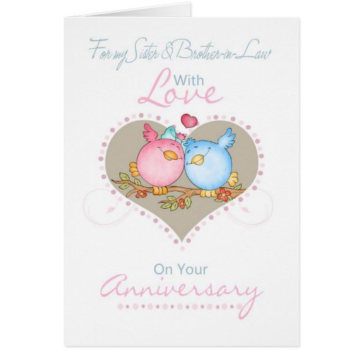 Sister Brother In Law Anniversary Card With Love Zazzle
