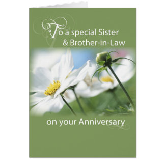 Sister & Brother-in-Law Anniversary White Flowers Card