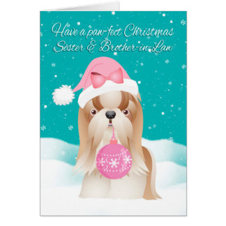 Sister & Brother-in-Law Shih Tzu Dog Christmas Car Card