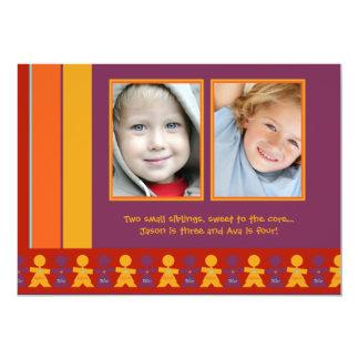 "Sister Brother - Photo Birthday Party Invitation 5"" X 7"" Invitation Card"