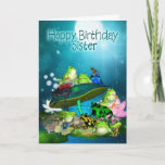 "Sister Card With Fantasy Frogs - Hoppy Birthday<br><div class=""desc"">Sister Card With Fantasy Frogs - Hoppy Birthday</div>"
