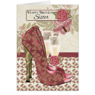 Sister Champagne And Shoes Butterfly And Rose Card