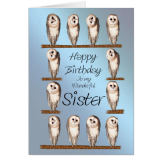 Sister, Curious owls birthday card. Card