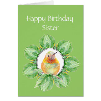 Sister Custom Birthday Rufous Hummingbird Card
