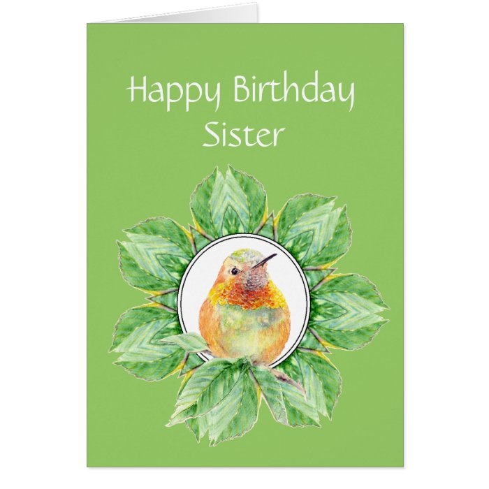 Sister Custom Birthday Rufous Hummingbird Card