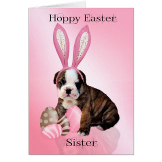 Sister Cute Easter Bulldog Puppy With Eggs Card
