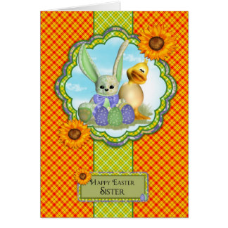 Sister Cute Easter Card With Rabbit And Chick