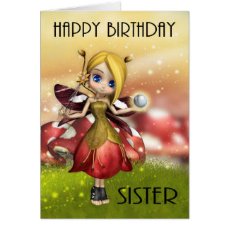Sister Cute Magical Fairy With Crystal Ball Greeting Card