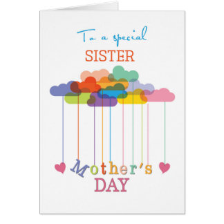 Sister, Cute Mother's Day Rainbow Clouds and Heart Greeting Card