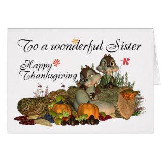 Sister, Cute Thanksgiving Card With Cornucopia, Sq at Zazzle