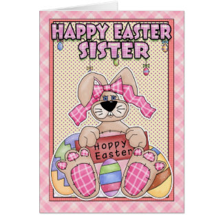 Sister Easter Card - Easter Bunny & Easter Eggs