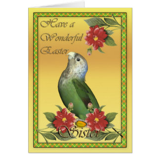 Sister Easter card with Cape Parrot