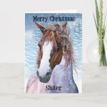 Sister Equine Horse With Winter Background Holiday Card