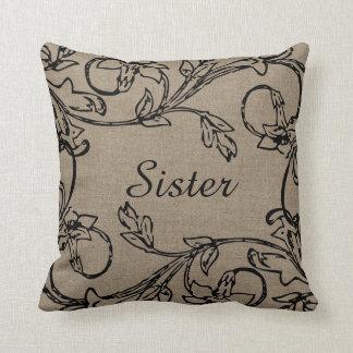 Sister Floral Crewel Work Effect on Burlap Design Throw Pillow