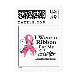Sister Floral Ribbon - Breast Cancer Postage Stamp