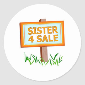 sister for sale boys classic round sticker