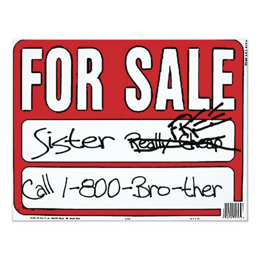 Sister for Sale Card