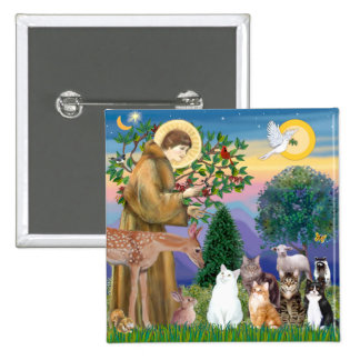 Sister Frances Blessing 5 cats 2 Inch Square Button