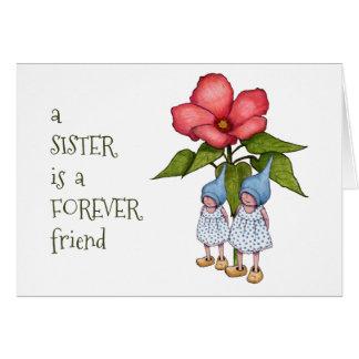 Sister Friendship, Gnomes, Fantasy Art, Flower Greeting Card