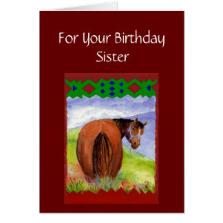 Sister Funny Birthday Wishes Horses  Diet Cake Card