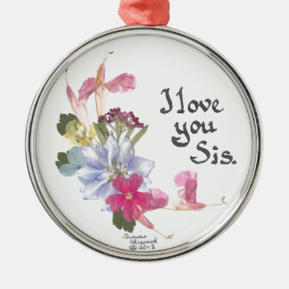 Sister gift round metal christmas ornament