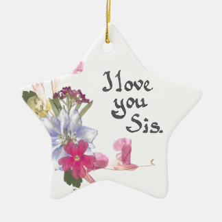 Sister gift Double-Sided star ceramic christmas ornament