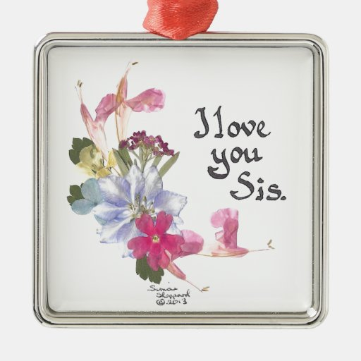 Sister gift square metal christmas ornament zazzle