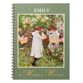 Sister, Girls in Flower Garden, Vint Notebook