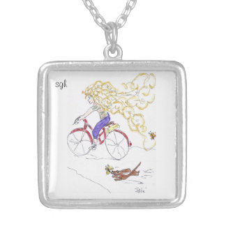 sister golden hair and dog snoopy locket