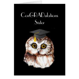 Sister Graduation Congratulations Cute Wise Owl Cards