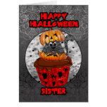 sister halloween cupcake cat, grey tabby card